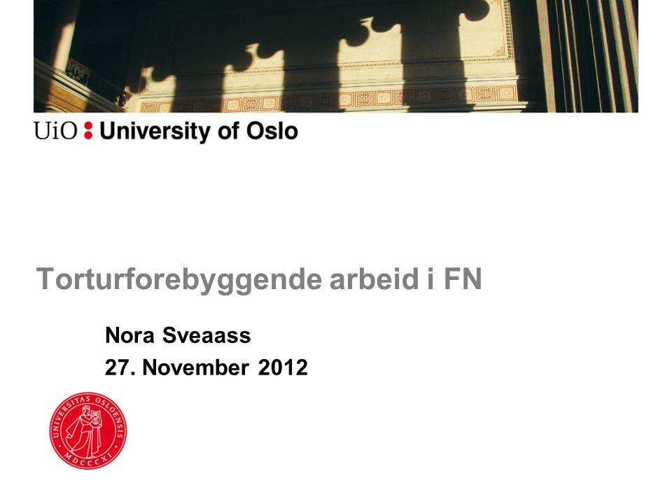 Torturforebyggende arbeid i FN Nora Sveaass 27. November 2012