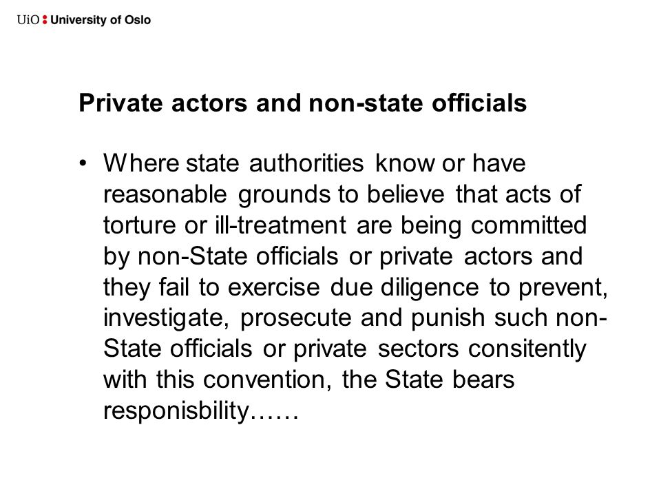 Private actors and non-state officials •Where state authorities know or have reasonable grounds to believe that acts of torture or ill-treatment are being committed by non-State officials or private actors and they fail to exercise due diligence to prevent, investigate, prosecute and punish such non- State officials or private sectors consitently with this convention, the State bears responisbility……
