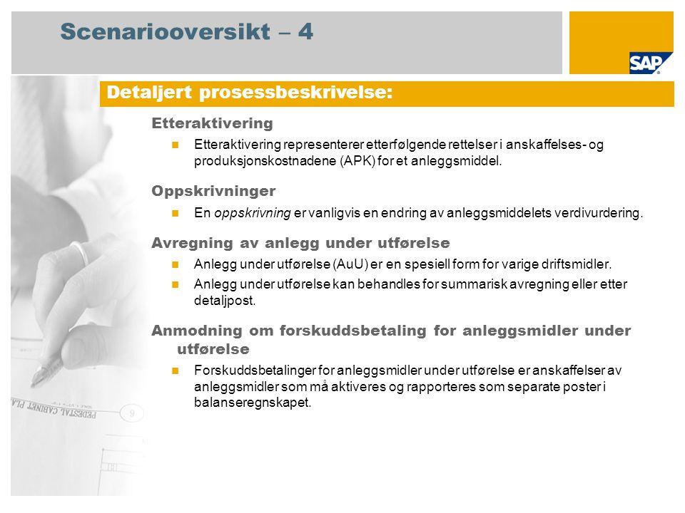 Scenariooversikt – 4 Etteraktivering  Etteraktivering representerer etterfølgende rettelser i anskaffelses- og produksjonskostnadene (APK) for et anleggsmiddel.