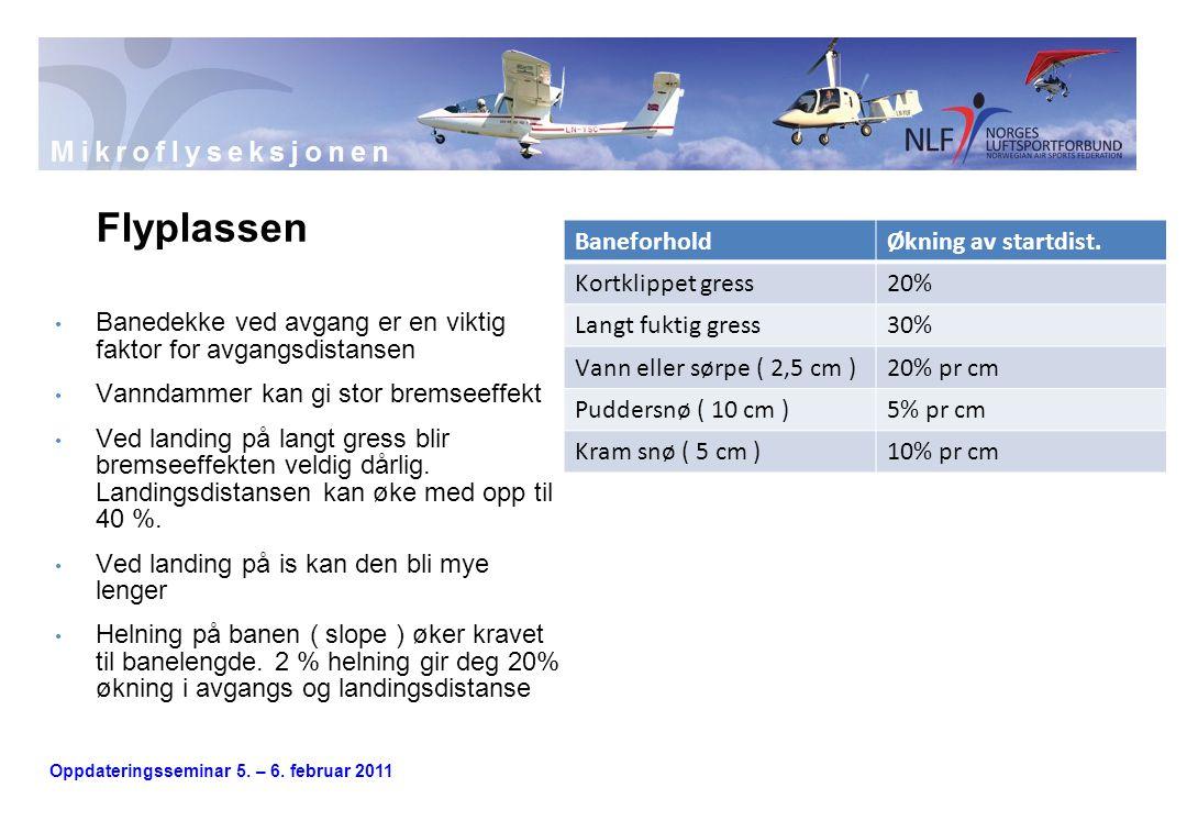 Oppdateringsseminar 5. – 6. februar 2011 Flyplassen • Banedekke ved avgang er en viktig faktor for avgangsdistansen • Vanndammer kan gi stor bremseeff