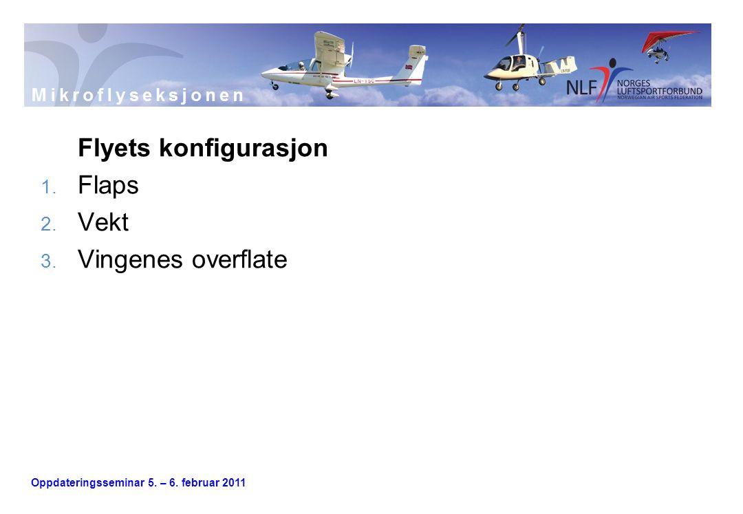 Oppdateringsseminar 5. – 6. februar 2011 Flyets konfigurasjon 1. Flaps 2. Vekt 3. Vingenes overflate