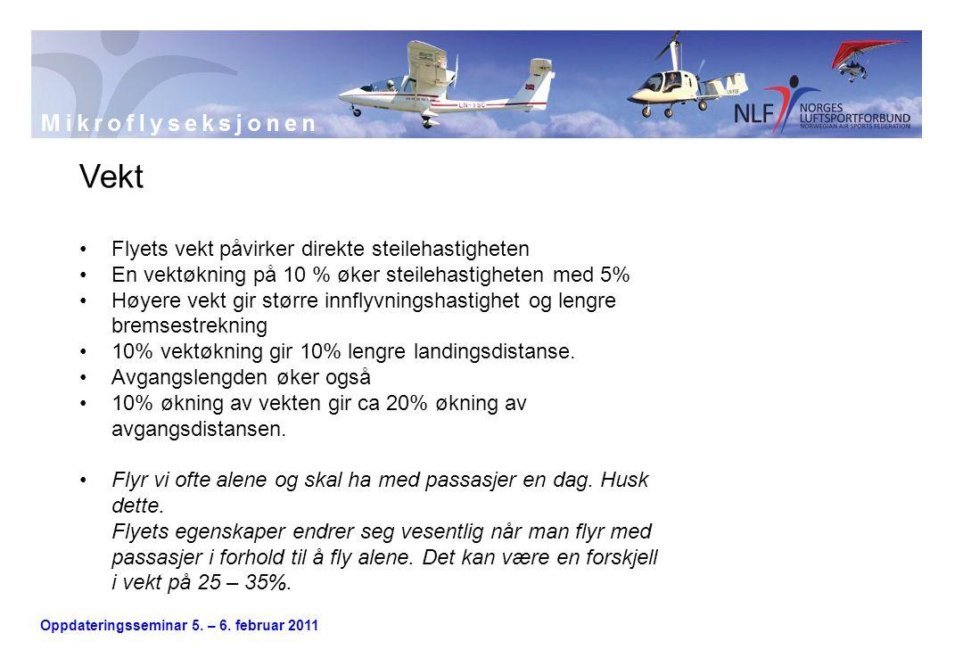 Oppdateringsseminar 5. – 6. februar 2011 Vekt •Flyets vekt påvirker direkte steilehastigheten •En vektøkning på 10 % øker steilehastigheten med 5% •Hø