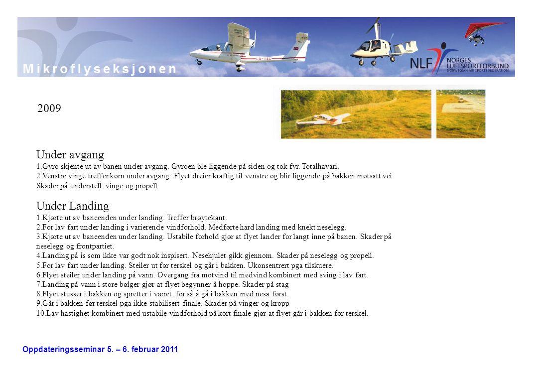 Oppdateringsseminar 5. – 6. februar 2011 2009 Under avgang 1.Gyro skjente ut av banen under avgang. Gyroen ble liggende på siden og tok fyr. Totalhava