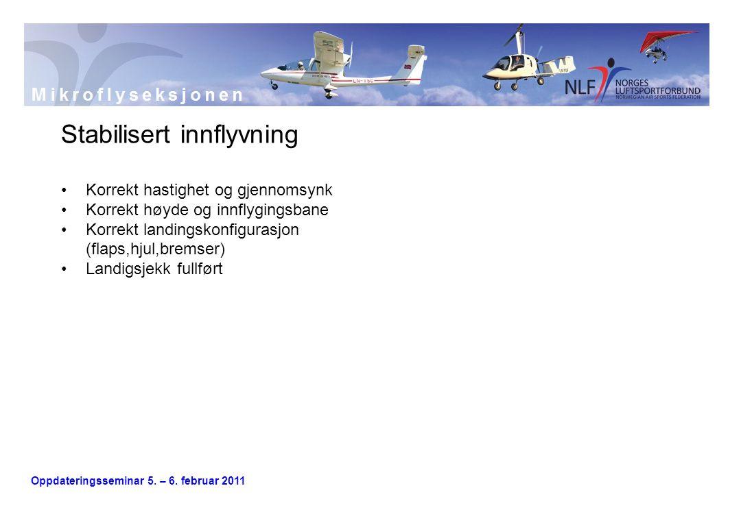 Oppdateringsseminar 5. – 6. februar 2011 Stabilisert innflyvning •Korrekt hastighet og gjennomsynk •Korrekt høyde og innflygingsbane •Korrekt landings