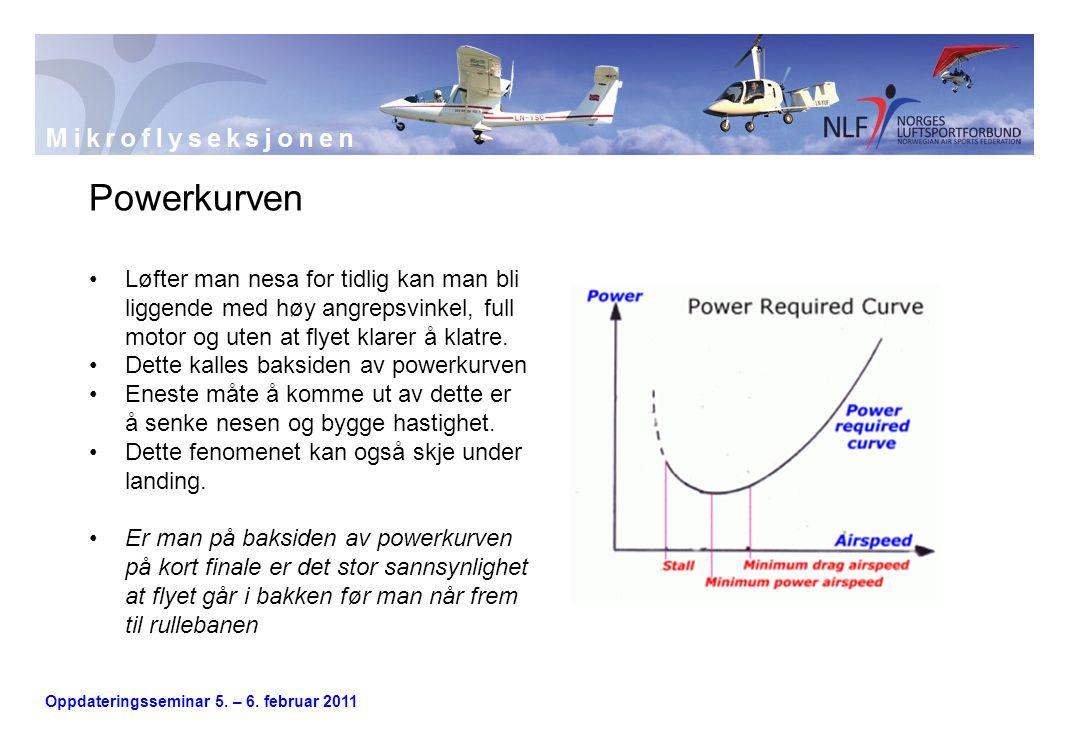 Oppdateringsseminar 5. – 6. februar 2011 Powerkurven •Løfter man nesa for tidlig kan man bli liggende med høy angrepsvinkel, full motor og uten at fly
