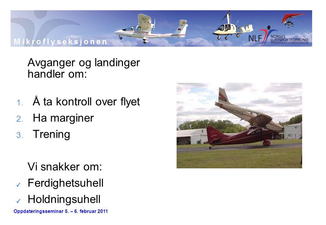 Oppdateringsseminar 5. – 6. februar 2011 Avganger og landinger handler om: 1. Å ta kontroll over flyet 2. Ha marginer 3. Trening Vi snakker om: ✔ Ferd