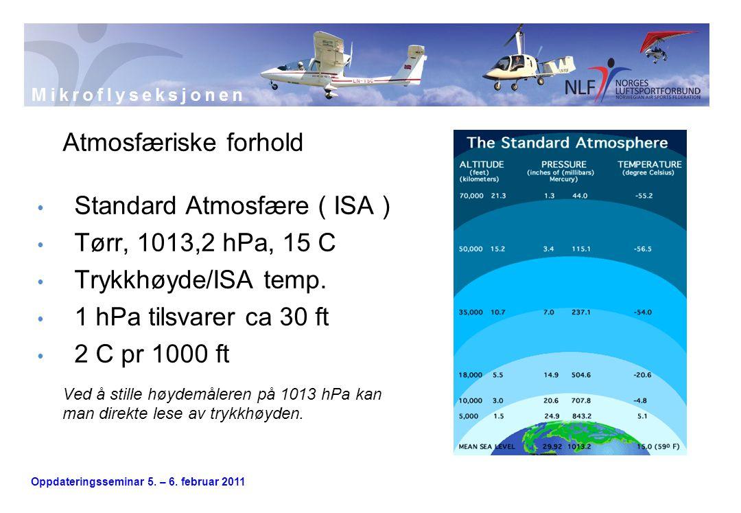 Oppdateringsseminar 5. – 6. februar 2011 Atmosfæriske forhold • Standard Atmosfære ( ISA ) • Tørr, 1013,2 hPa, 15 C • Trykkhøyde/ISA temp. • 1 hPa til