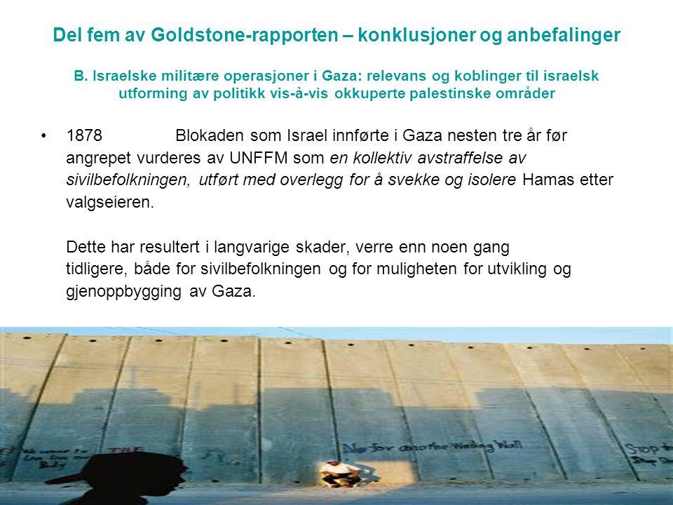 Del fem av Goldstone-rapporten – konklusjoner og anbefalinger B.