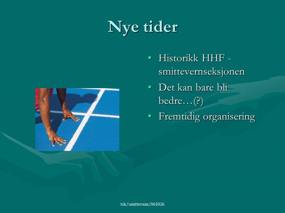 tsk/smittevern/061026 Nye tider •Historikk HHF - smittevernseksjonen •Det kan bare bli bedre…( ) •Fremtidig organisering