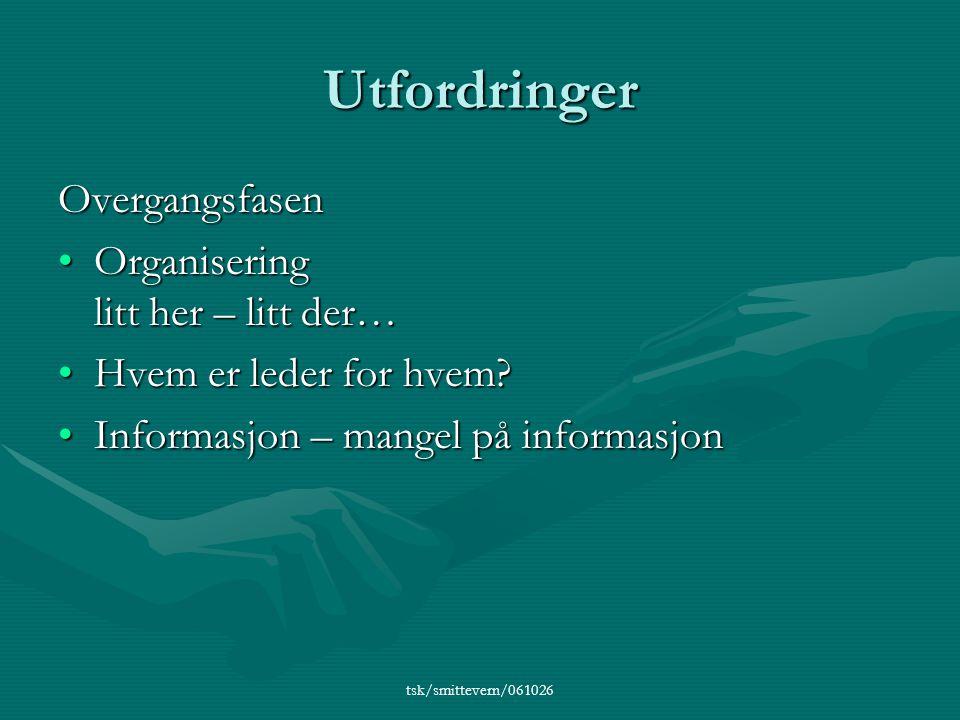 tsk/smittevern/061026 Utfordringer Overgangsfasen •Organisering litt her – litt der… •Hvem er leder for hvem.