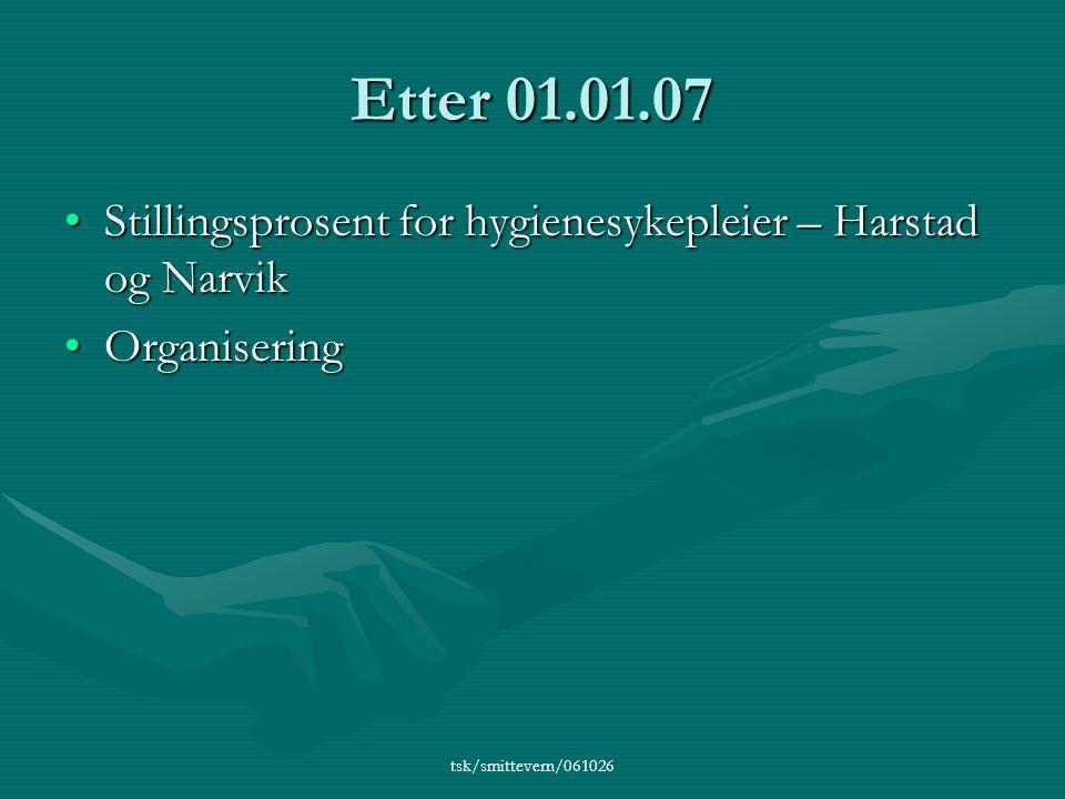 tsk/smittevern/061026 Etter 01.01.07 •Stillingsprosent for hygienesykepleier – Harstad og Narvik •Organisering