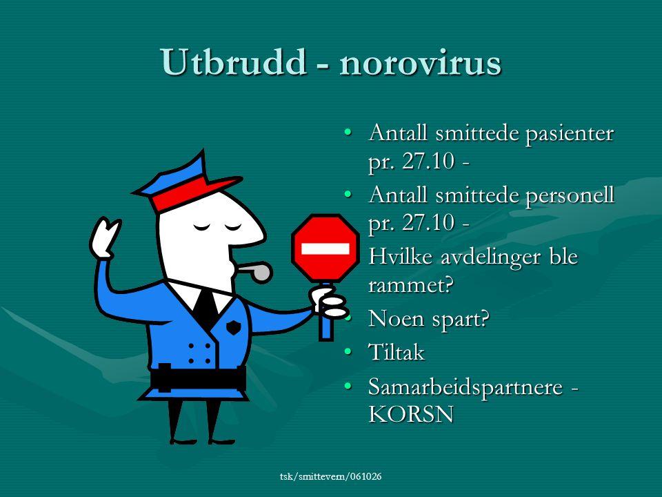 tsk/smittevern/061026 Utbrudd - norovirus •Antall smittede pasienter pr.