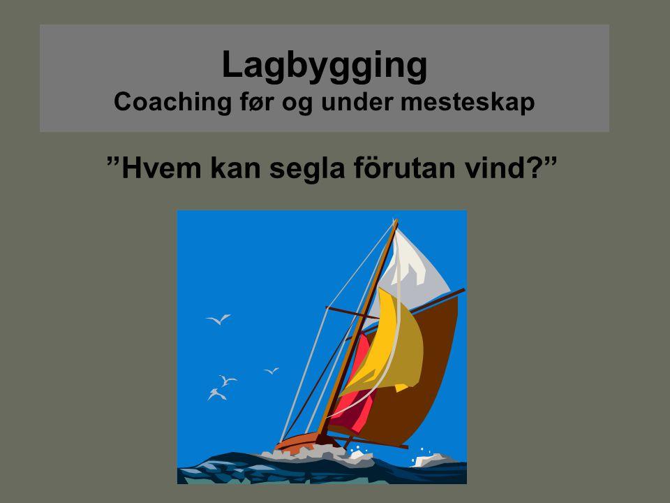 """Lagbygging Coaching før og under mesteskap """"Hvem kan segla förutan vind?"""""""