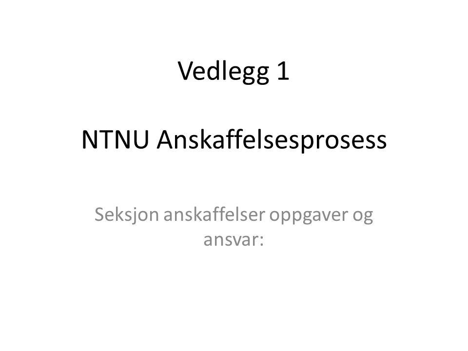 Vedlegg 1 NTNU Anskaffelsesprosess Seksjon anskaffelser oppgaver og ansvar:
