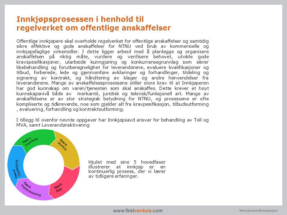 www.firstventura.com Versjonsinformasjon Offentlige innkjøpere skal overholde regelverket for offentlige anskaffelser og samtidig sikre effektive og g