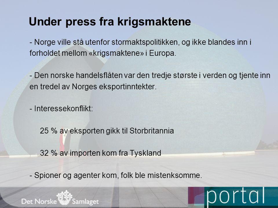 Under press fra krigsmaktene - Norge ville stå utenfor stormaktspolitikken, og ikke blandes inn i forholdet mellom «krigsmaktene» i Europa.