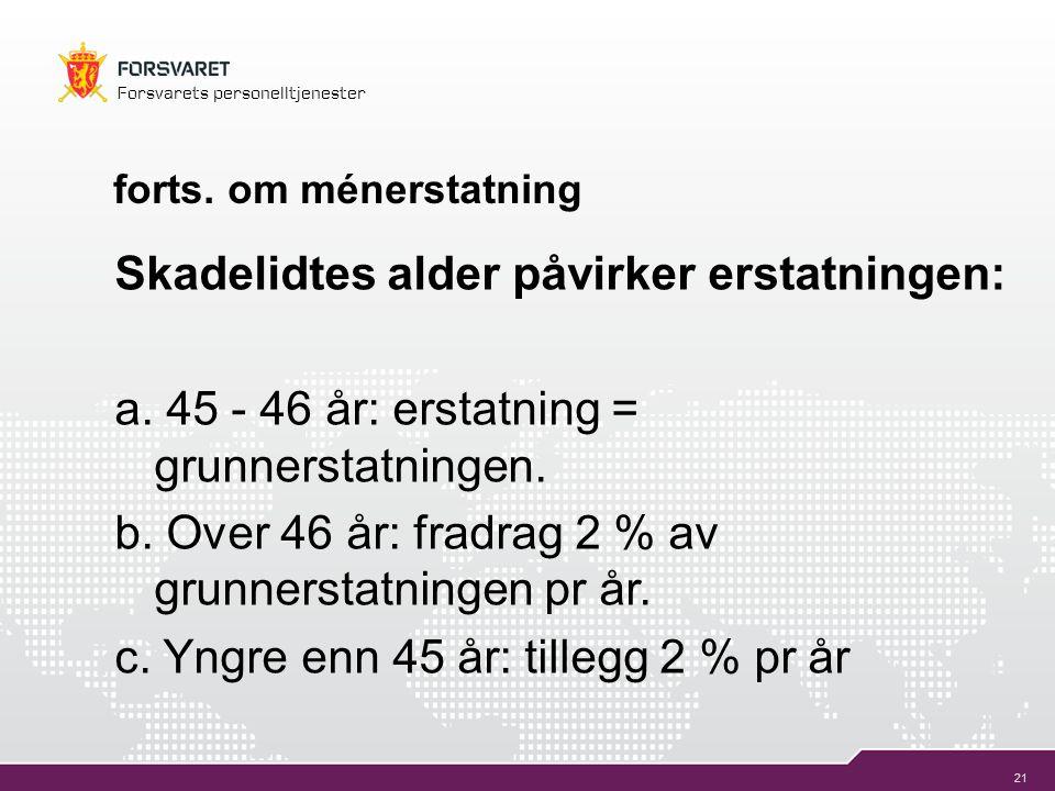 21 Forsvarets personelltjenester forts. om ménerstatning Skadelidtes alder påvirker erstatningen: a. 45 - 46 år: erstatning = grunnerstatningen. b. Ov