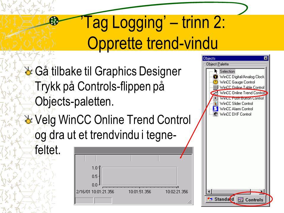 'Tag Logging' – trinn 2: Opprette trend-vindu Gå tilbake til Graphics Designer Trykk på Controls-flippen på Objects-paletten.