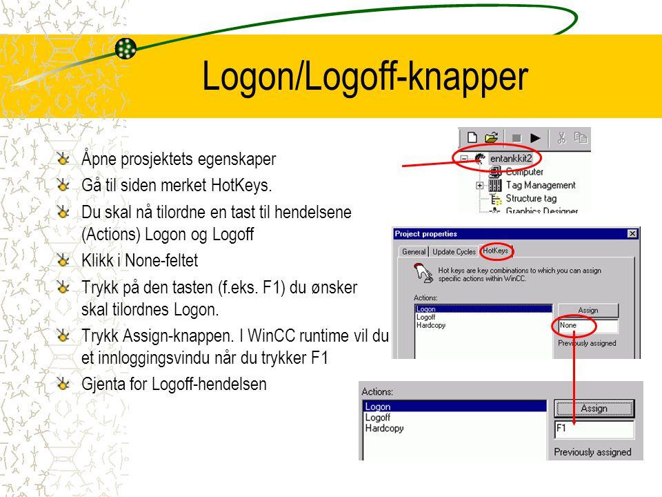 Logon/Logoff-knapper Åpne prosjektets egenskaper Gå til siden merket HotKeys.