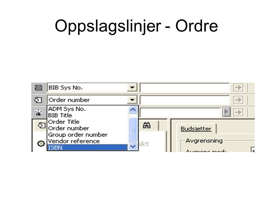 Oppslagslinjer - Ordre