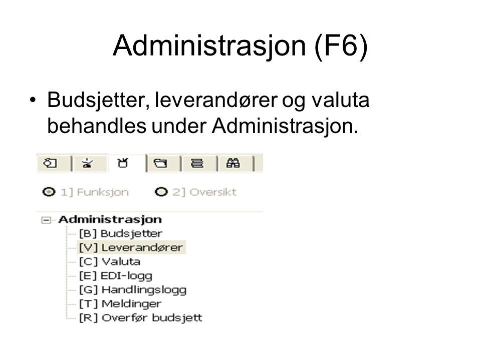 Administrasjon (F6) •Budsjetter, leverandører og valuta behandles under Administrasjon.