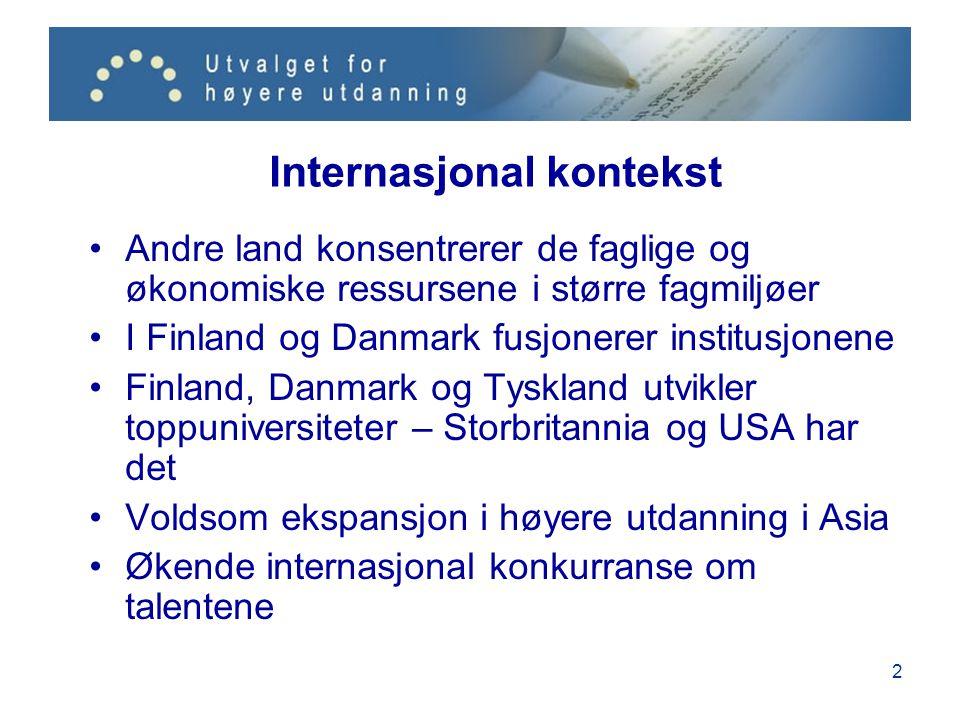 3 Norge derimot •Hernes' knutepunktstrategi brøt sammen •Mjøs skapte et incentiv- og konkurransebasert system •38 statlige institusjoner konkurrerer om studenter, ansatte, forskningsmidler osv.