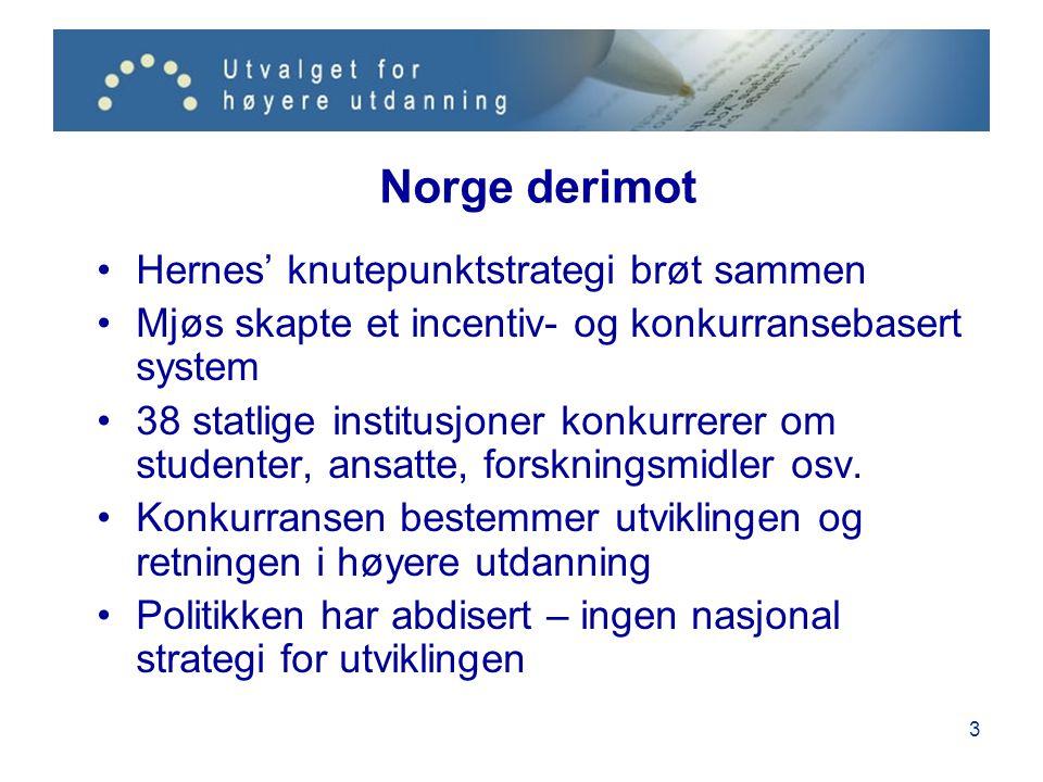 3 Norge derimot •Hernes' knutepunktstrategi brøt sammen •Mjøs skapte et incentiv- og konkurransebasert system •38 statlige institusjoner konkurrerer o