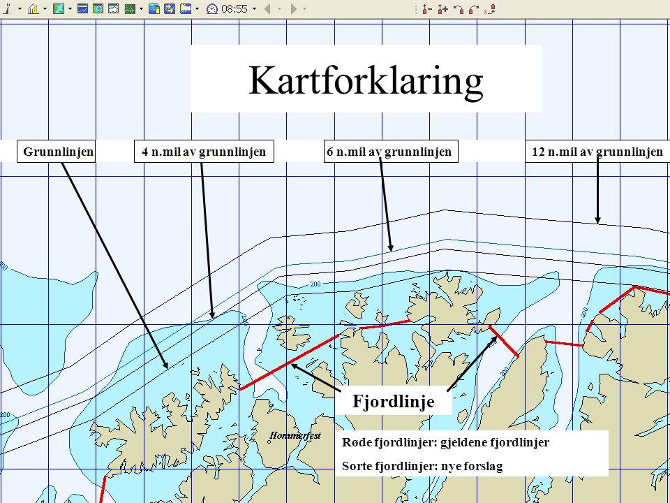 Fjordlinje Grunnlinjen 4 n.mil av grunnlinjen 6 n.mil av grunnlinjen 12 n.mil av grunnlinjen Kartforklaring Røde fjordlinjer: gjeldene fjordlinjer Sorte fjordlinjer: nye forslag