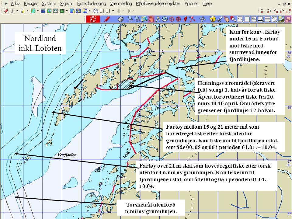 Nordland inkl. Lofoten Kun for konv. fartøy under 15 m. Forbud mot fiske med snurrevad innenfor fjordlinjene. Henningsværområdet (skravert felt) steng