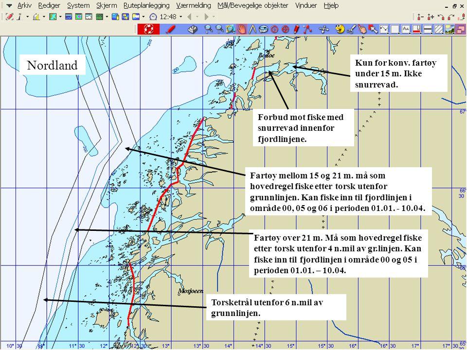 Nordland Forbud mot fiske med snurrevad innenfor fjordlinjene. Fartøy mellom 15 og 21 m. må som hovedregel fiske etter torsk utenfor grunnlinjen. Kan