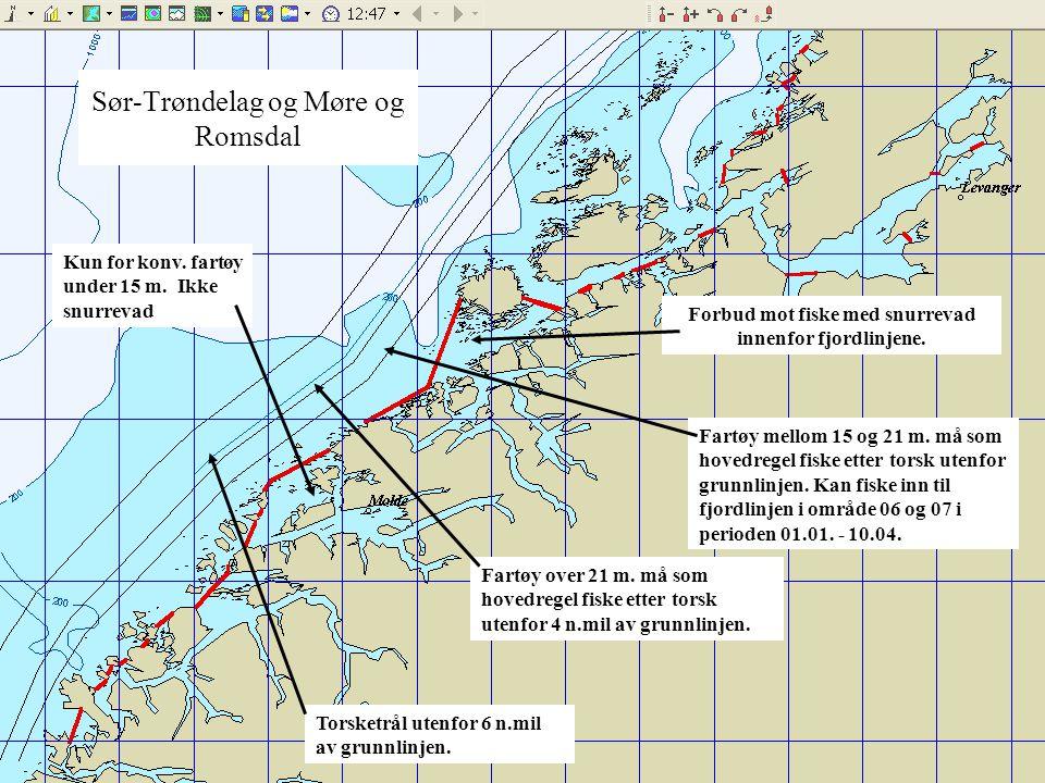 Sør-Trøndelag og Møre og Romsdal Fartøy mellom 15 og 21 m. må som hovedregel fiske etter torsk utenfor grunnlinjen. Kan fiske inn til fjordlinjen i om