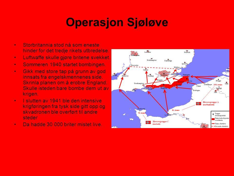 Operasjon Sjøløve •Storbritannia stod nå som eneste hinder for det tredje rikets utbredelse. •Luftwaffe skulle gjøre britene svekket. •Sommeren 1940 s