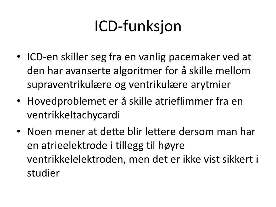ICD-funksjon • ICD-en skiller seg fra en vanlig pacemaker ved at den har avanserte algoritmer for å skille mellom supraventrikulære og ventrikulære ar