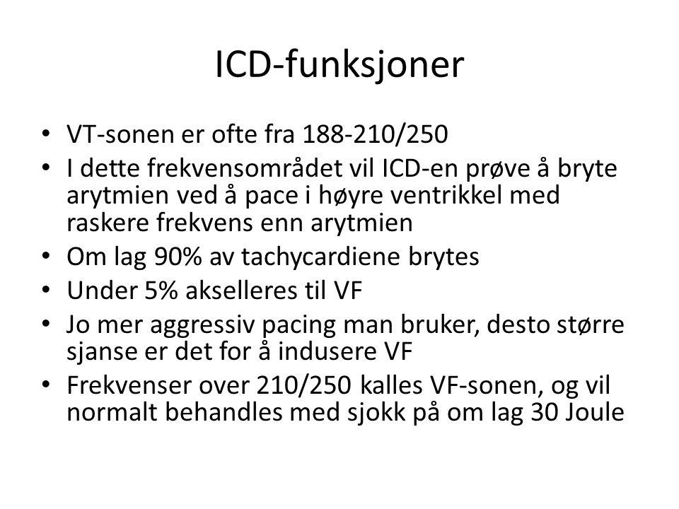 ICD-funksjoner • VT-sonen er ofte fra 188-210/250 • I dette frekvensområdet vil ICD-en prøve å bryte arytmien ved å pace i høyre ventrikkel med rasker