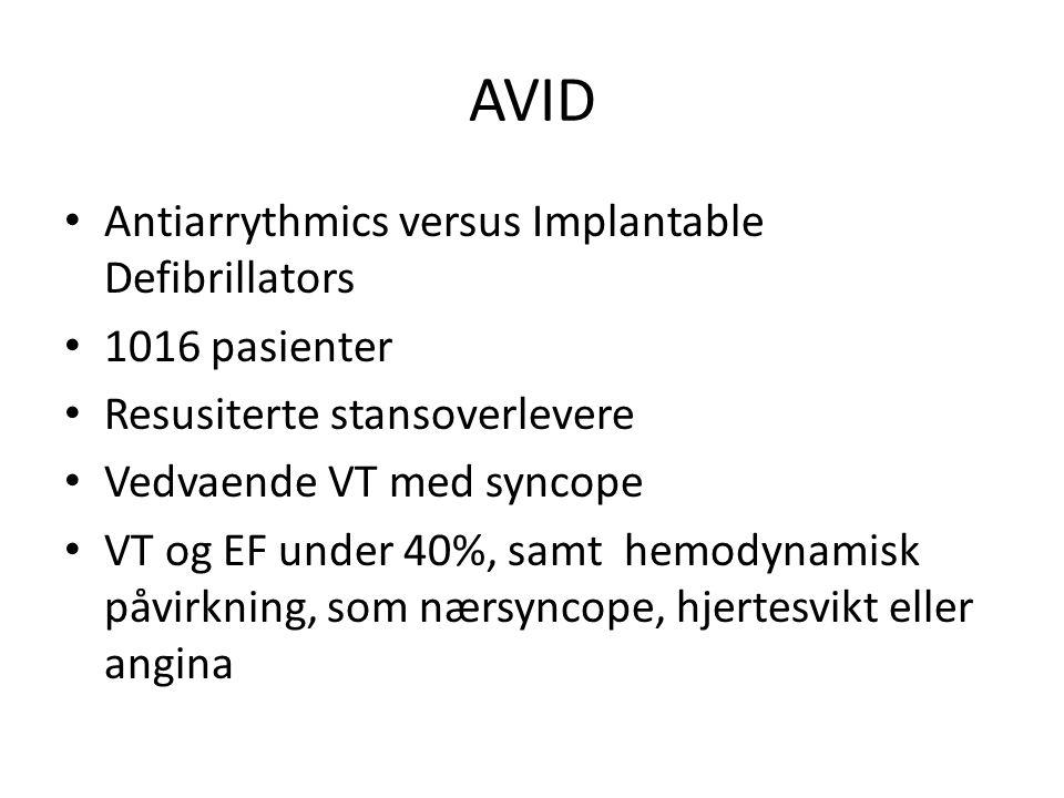 AVID • Antiarrythmics versus Implantable Defibrillators • 1016 pasienter • Resusiterte stansoverlevere • Vedvaende VT med syncope • VT og EF under 40%, samt hemodynamisk påvirkning, som nærsyncope, hjertesvikt eller angina