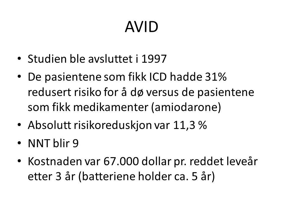 AVID • Studien ble avsluttet i 1997 • De pasientene som fikk ICD hadde 31% redusert risiko for å dø versus de pasientene som fikk medikamenter (amiodarone) • Absolutt risikoreduskjon var 11,3 % • NNT blir 9 • Kostnaden var 67.000 dollar pr.