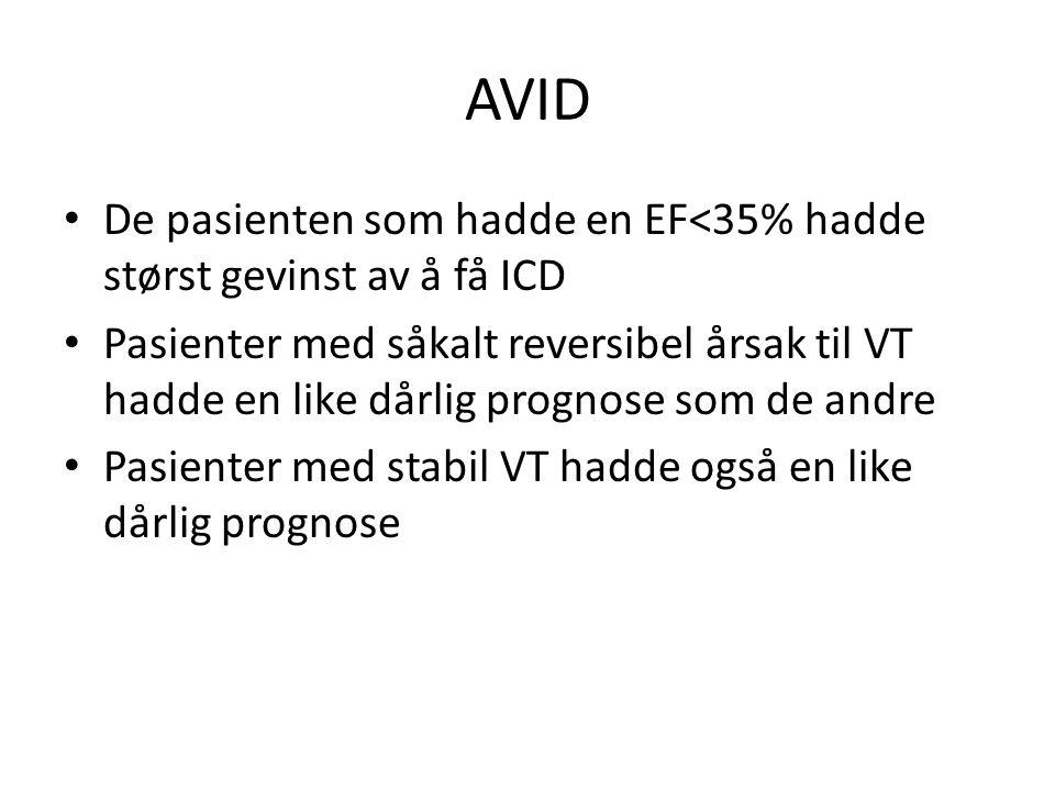 AVID • De pasienten som hadde en EF<35% hadde størst gevinst av å få ICD • Pasienter med såkalt reversibel årsak til VT hadde en like dårlig prognose som de andre • Pasienter med stabil VT hadde også en like dårlig prognose