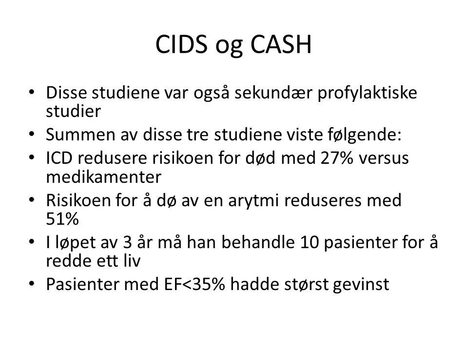 CIDS og CASH • Disse studiene var også sekundær profylaktiske studier • Summen av disse tre studiene viste følgende: • ICD redusere risikoen for død m