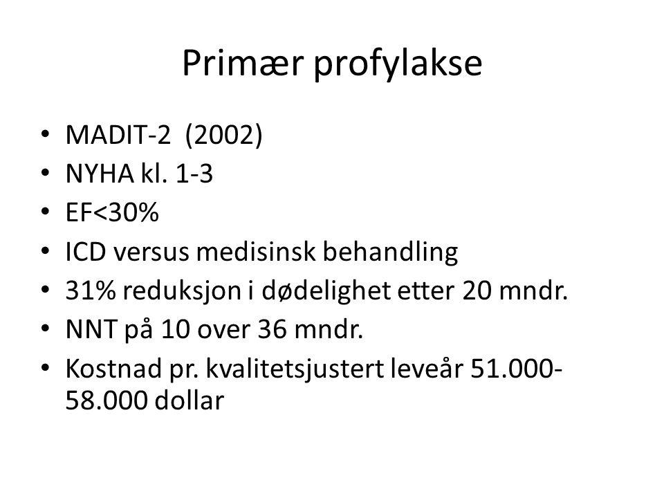 Primær profylakse • MADIT-2 (2002) • NYHA kl. 1-3 • EF<30% • ICD versus medisinsk behandling • 31% reduksjon i dødelighet etter 20 mndr. • NNT på 10 o