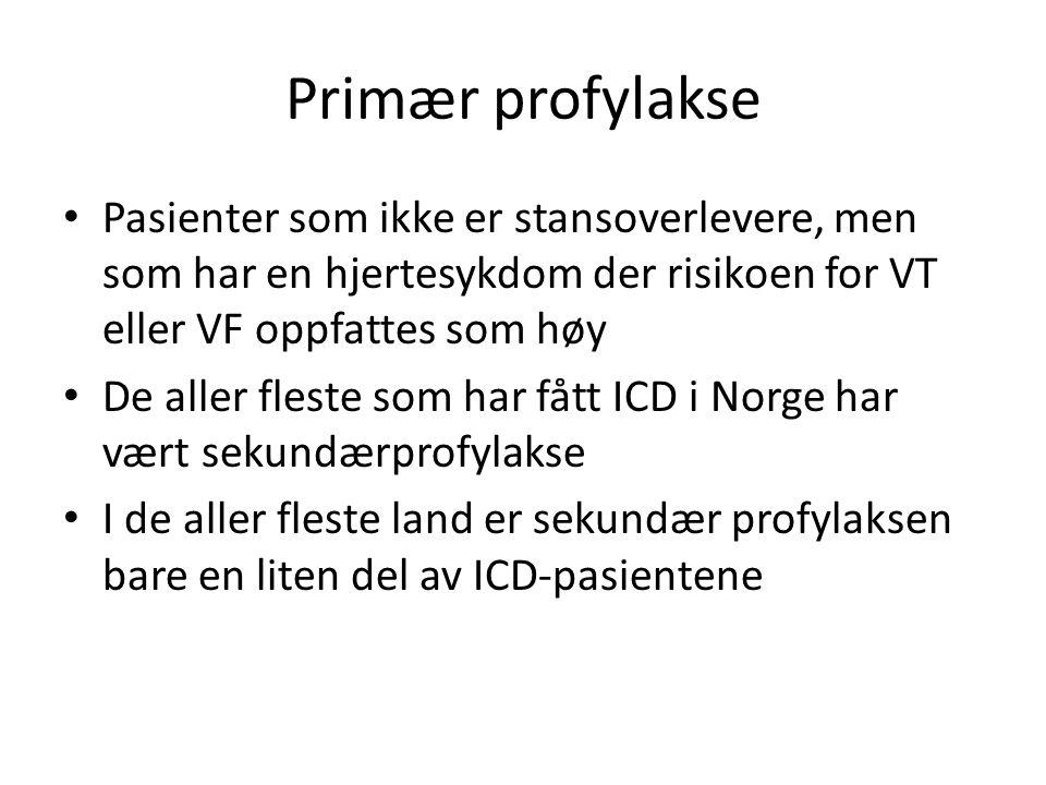 Primær profylakse • Pasienter som ikke er stansoverlevere, men som har en hjertesykdom der risikoen for VT eller VF oppfattes som høy • De aller fleste som har fått ICD i Norge har vært sekundærprofylakse • I de aller fleste land er sekundær profylaksen bare en liten del av ICD-pasientene