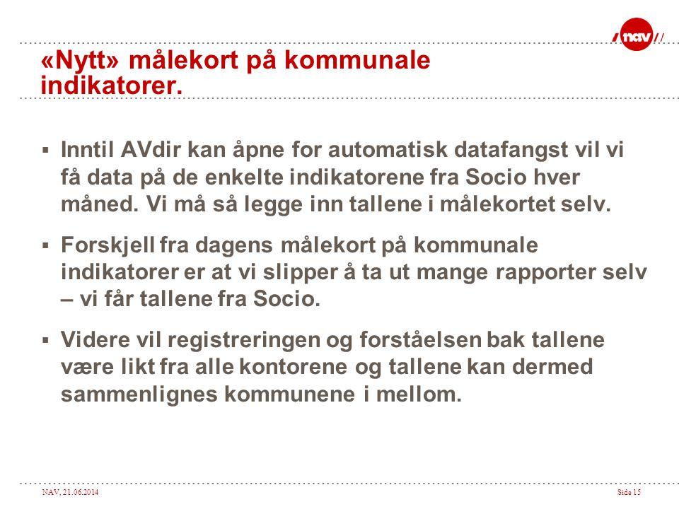 NAV, 21.06.2014Side 15 «Nytt» målekort på kommunale indikatorer.