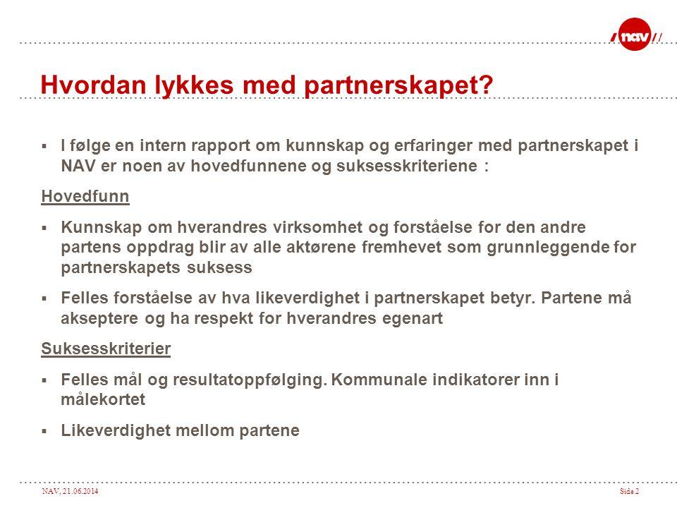 NAV, 21.06.2014Side 2 Hvordan lykkes med partnerskapet.