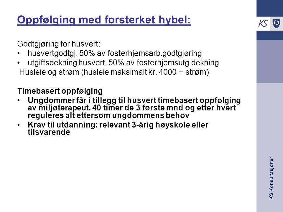 KS Konsultasjoner Oppfølging med forsterket hybel: Godtgjøring for husvert: •husvertgodtgj. 50% av fosterhjemsarb.godtgjøring •utgiftsdekning husvert.