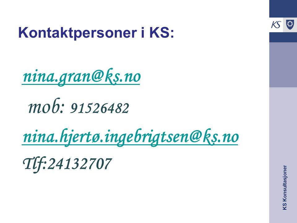KS Konsultasjoner Kontaktpersoner i KS: nina.gran@ks.no mob: 91526482 nina.hjertø.ingebrigtsen@ks.no Tlf:24132707