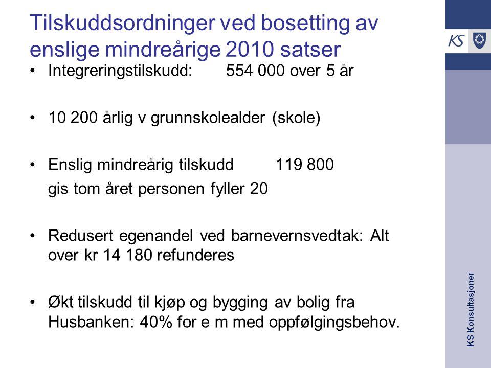 KS Konsultasjoner Tilskuddsordninger ved bosetting av enslige mindreårige 2010 satser •Integreringstilskudd: 554 000 over 5 år •10 200 årlig v grunnsk