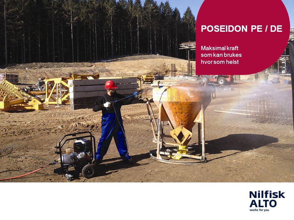 2 21/06/2014POSEIDON PE / DE2 POSEIDON 2-35 PE POSEIDON 3-37 PE+ POSEIDON PE / DE En serie som består av enkle og kraftige bensin- / dieseldrevne høytrykksvaskere som kan brukes i områder hvor støm ikke er tilgjengelig, eller tilstrekkelig.