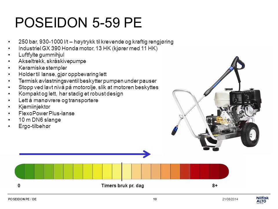 10 21/06/2014POSEIDON PE / DE10 POSEIDON 5-59 PE •250 bar, 930-1000 l/t – høytrykk til krevende og kraftig rengjøring •Industriel GX 390 Honda motor,