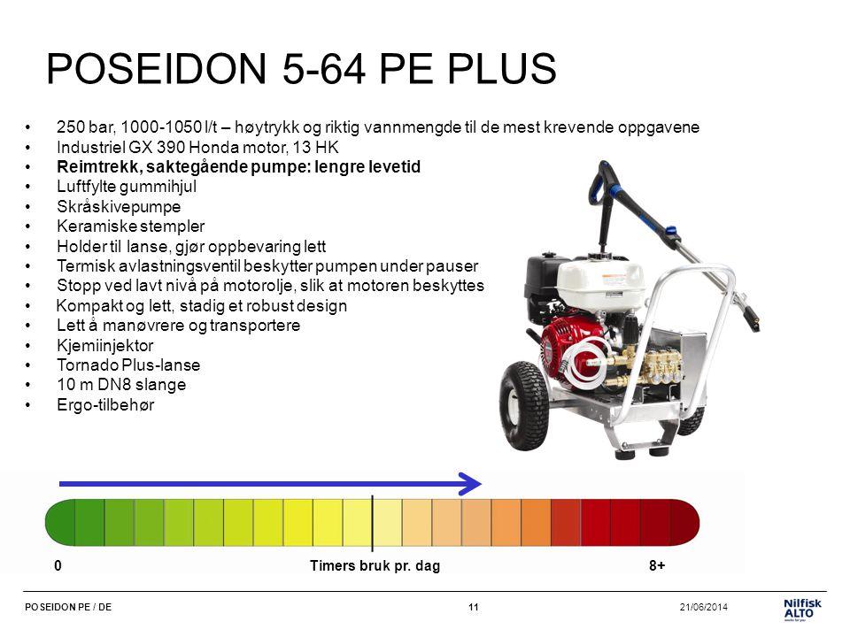 11 21/06/2014POSEIDON PE / DE11 POSEIDON 5-64 PE PLUS •250 bar, 1000-1050 l/t – høytrykk og riktig vannmengde til de mest krevende oppgavene •Industri