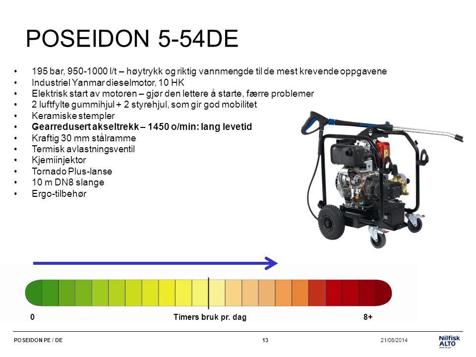 13 21/06/2014POSEIDON PE / DE13 POSEIDON 5-54DE •195 bar, 950-1000 l/t – høytrykk og riktig vannmengde til de mest krevende oppgavene •Industriel Yanm