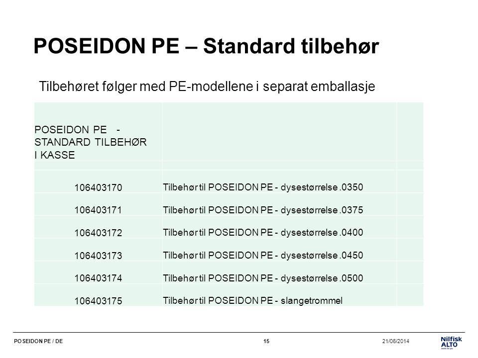 15 21/06/2014POSEIDON PE / DE15 POSEIDON PE – Standard tilbehør Tilbehøret følger med PE-modellene i separat emballasje POSEIDON PE - STANDARD TILBEHØ